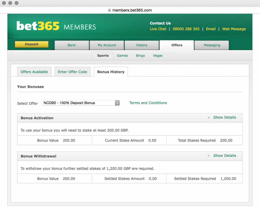 matched betting bet365 bonus