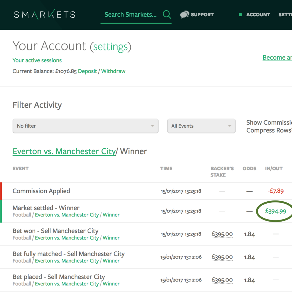 Matched Betting Smarkets Earnings