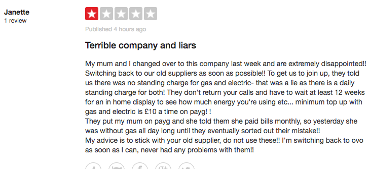Trustpilot Economy Energy Bad Review
