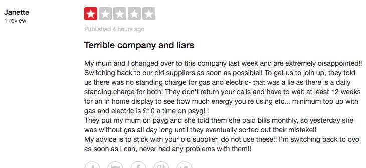 Trustpilot Economy Energy Bad Review