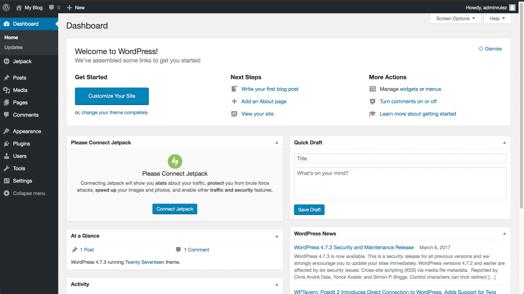 Wordpress Starting Screen